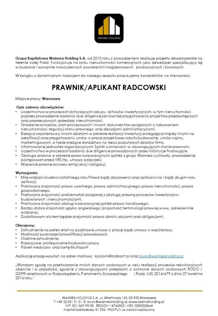 ogłoszenie PRAWNIK_APLIKANT RADCOWSKI